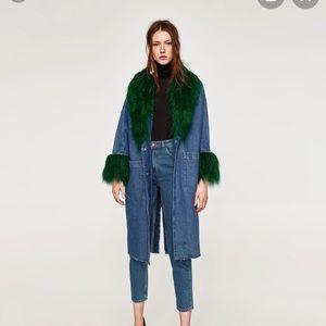 NWOT Zara Denim Faux Fur jacket